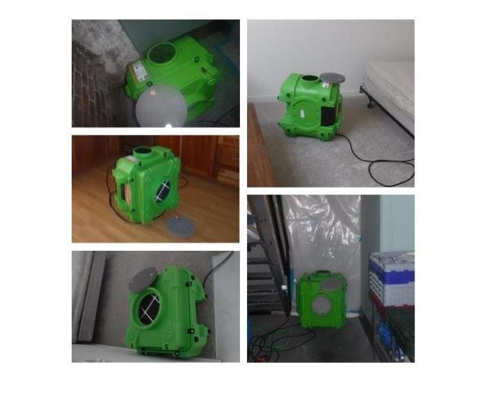 A photo showing multiple green air scrubbers at different projects